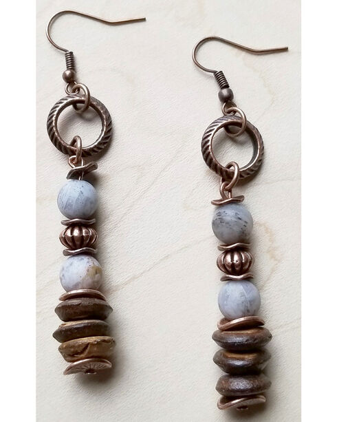 Jewelry Junkie Women's Frosted Bamboo Agate and Wood Earrings, Brown, hi-res