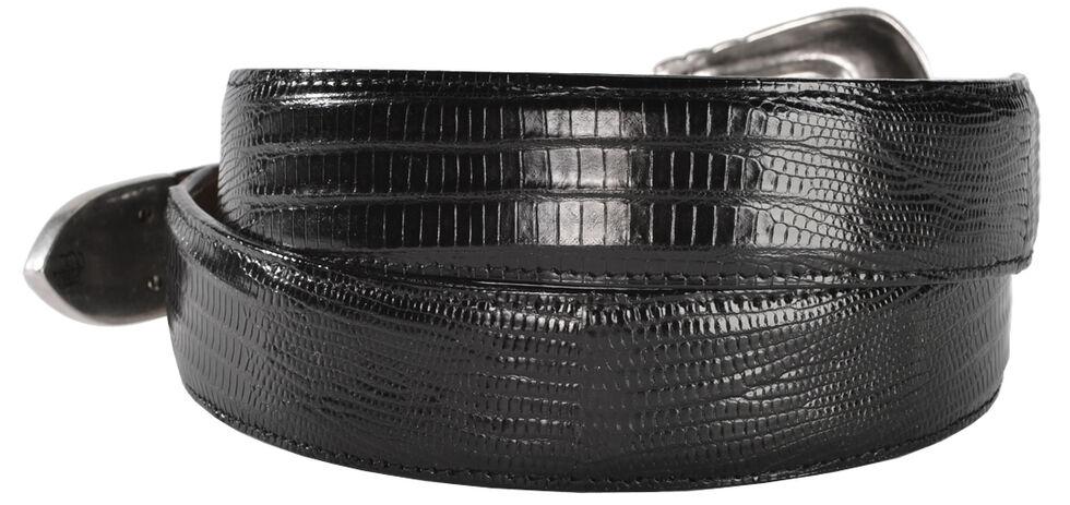 Lucchese Men's Black Lizard Leather Belt, Black, hi-res