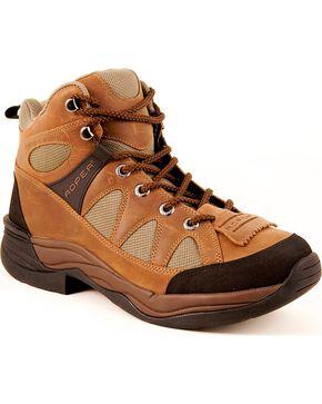 Roper Endurance Lace-Up HorseShoes - Round Toe, Tan, hi-res
