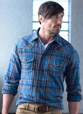 Ryan Michael Men's Exploded Indigo Plaid Shirt, Indigo, hi-res