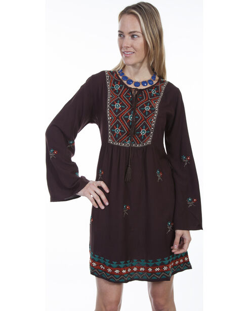 Scully Women's Brown Embroidered Peasant Dress, Brown, hi-res