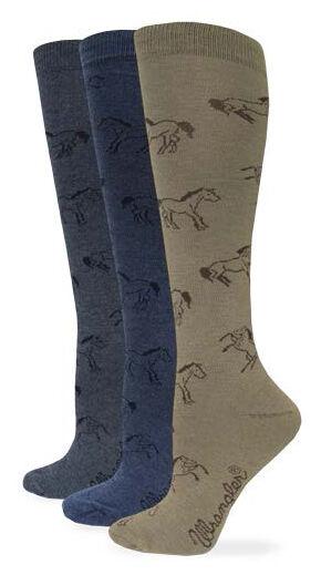 Wrangler Women's Horse Boot Socks, Denim, hi-res