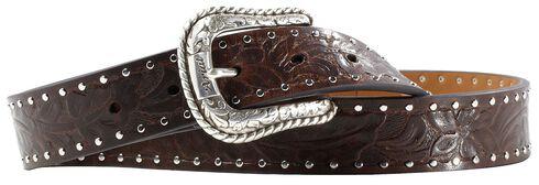 Ariat Western Embossed Brown Belt, Brown, hi-res