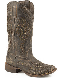 Roper Brown Vintage Studded Cowgirl Boots - Square Toe, Brown, hi-res