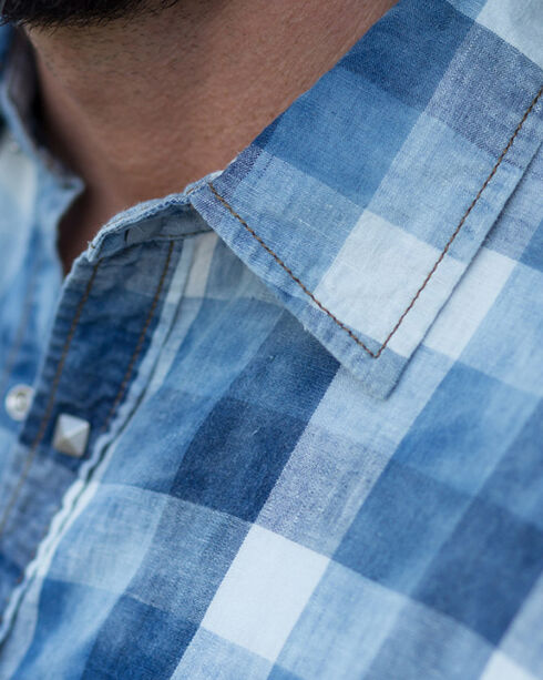 Ryan Michael Men's Faded Bleach Gingham Shirt - Big and Tall , Indigo, hi-res