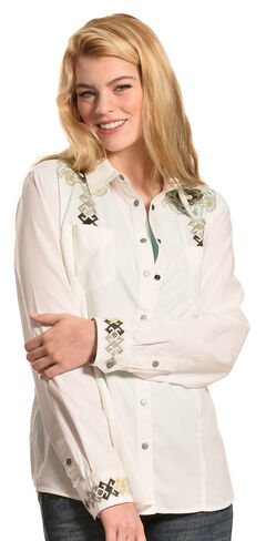 Ryan Michael Women's Aztec Embroidery Shirt, Salt, hi-res