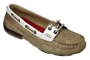 Twisted X  Women's Tan and White Driving Mocs, Tan, hi-res