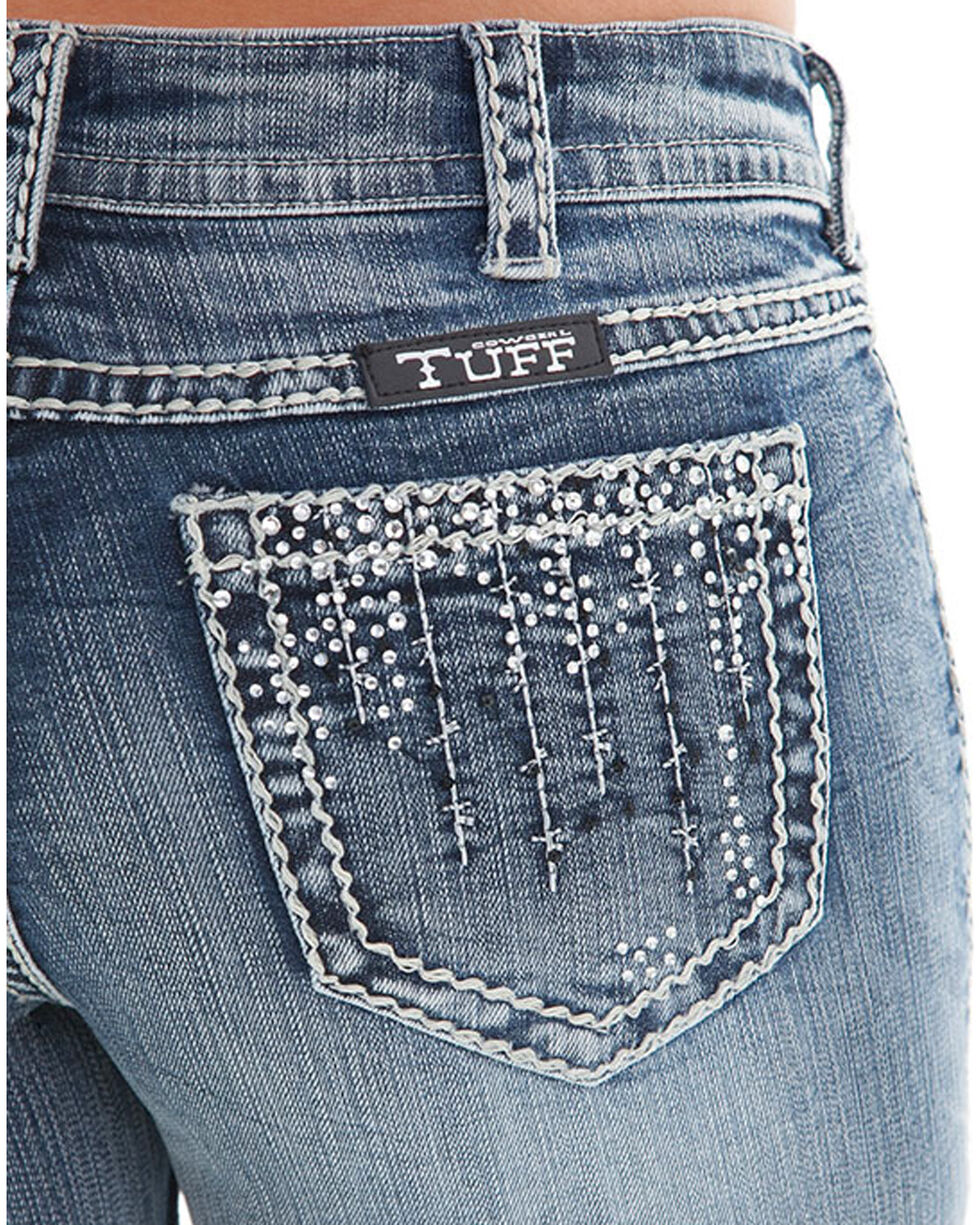 Cowgirl Tuff Women's Crystal Waterfall Jeans - Boot Cut , Indigo, hi-res