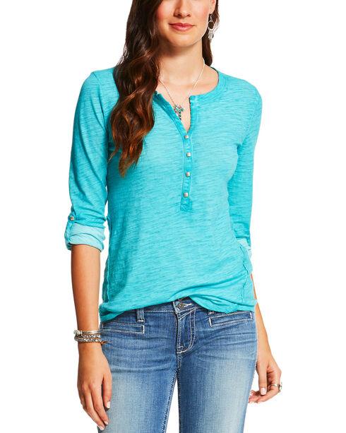 Ariat Women's Drift Turquoise Caitlin Henley, Turquoise, hi-res
