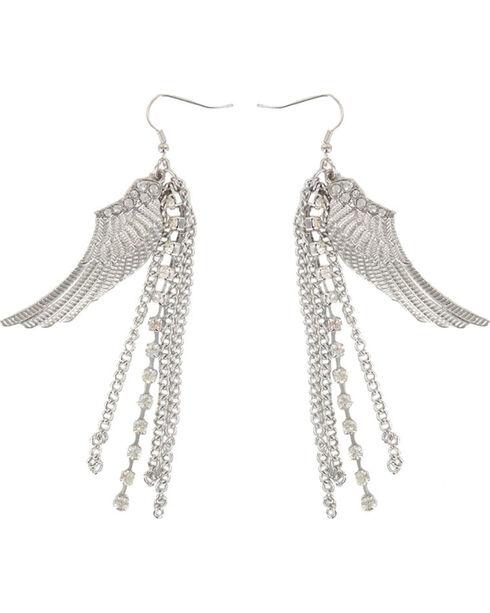 Shyanne Women's Dangle Wing Earrings, Silver, hi-res