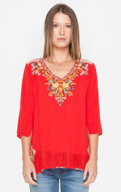 Johnny Was Women's Red Mary Ann Blouse, Red, hi-res