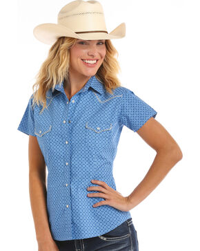 Rough Stock by Panhandle Women's Cap Sleeve Blanket Stitch Snap Shirt, Blue, hi-res