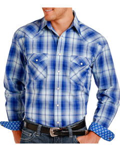 Rough Stock by Panhandle Men's Plaid Patterned Long Sleeve Shirt - Big, Blue, hi-res