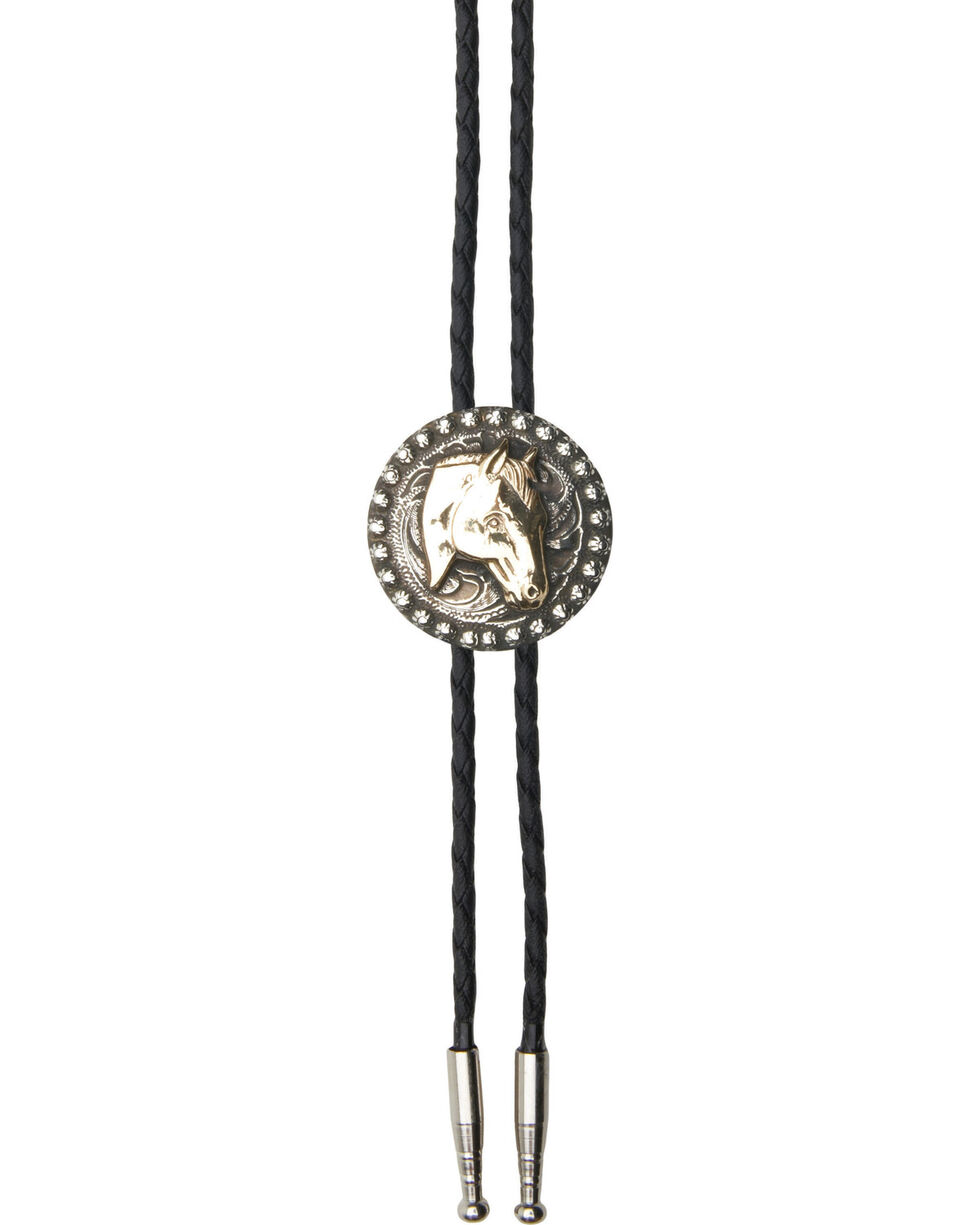 AndWest Men's Horsehead with Berry Edge Bolo Tie, Gold, hi-res