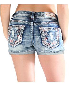 Grace in LA Women's Americana Cut Off Shorts , Light/pastel Blue, hi-res