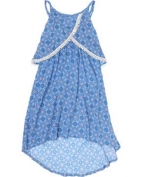 Shyanne Girls' High-Low Crochet Lace Dress, Blue, hi-res