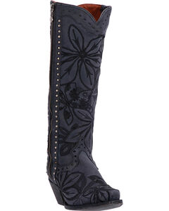 Dan Post Women's Black Embroidered Bombshell Boots - Snip Toe , Black, hi-res
