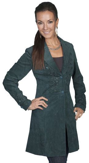 Scully Embroidered Boar Suede Long Coat, Teal, hi-res