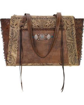 American West Women's Rio Grande Zip-Top Tote , Sand, hi-res