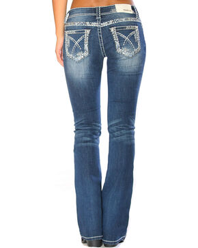 Grace in LA Women's Indigo Stitched Pocket Jeans - Boot Cut , Indigo, hi-res