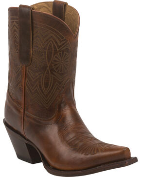 Tony Lama Tan Baja 100% Vaquero Cowgirl Booties - Snip Toe, Tan, hi-res