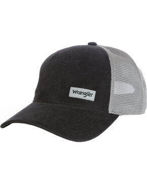 Wrangler Men's Word Mark Mesh Back Cap, Black, hi-res