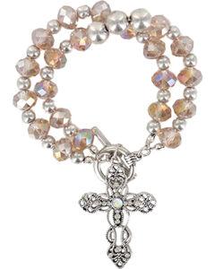 Shyanne Women's Vintage Cross Bracelet, Pink, hi-res
