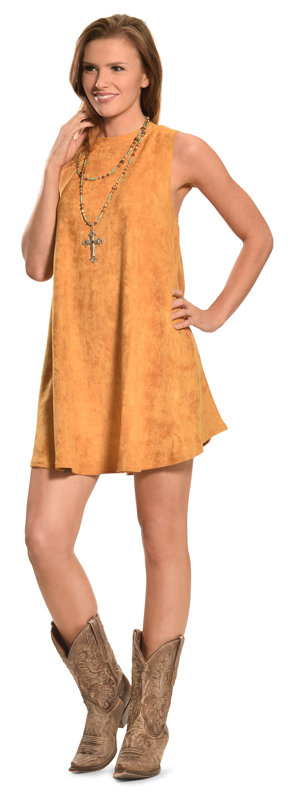 Cowgirl Justice Women's Sunset Gold Faux Suede Dress, Gold, hi-res