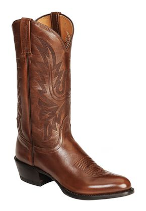 Lucchese Handcrafted Lonestar Calf Cowboy Boots - Medium Toe, Brown, hi-res