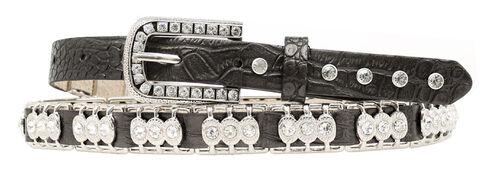 Nocona Croc Print Studded Belt, Black, hi-res