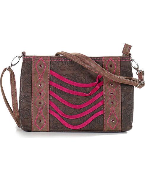 Catchfly Women's Paige Crossbody Bag, Brown/pink, hi-res