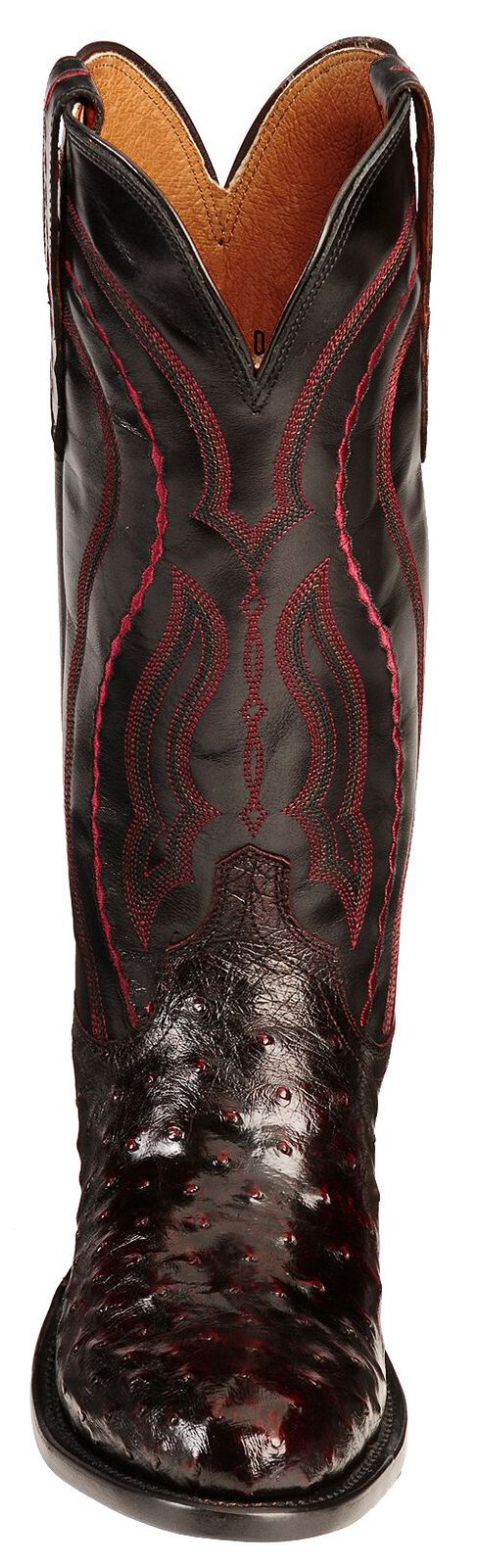 Lucchese Handcrafted 1883 Full Quill Ostrich Drosseto Boots - Round Toe, Black Cherry, hi-res