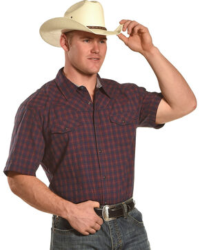 Moonshine Spirit Men's Red Small Plaid Short Sleeve Shirt, Navy, hi-res