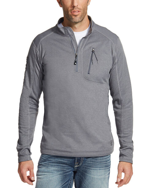 Ariat Men's Charcoal Motivation Relentless 1/4 Zip Pullover , Charcoal, hi-res