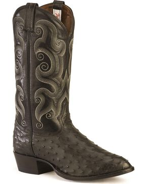 Tony Lama Full Quill Ostrich Western Boots - Medium Toe, Black, hi-res