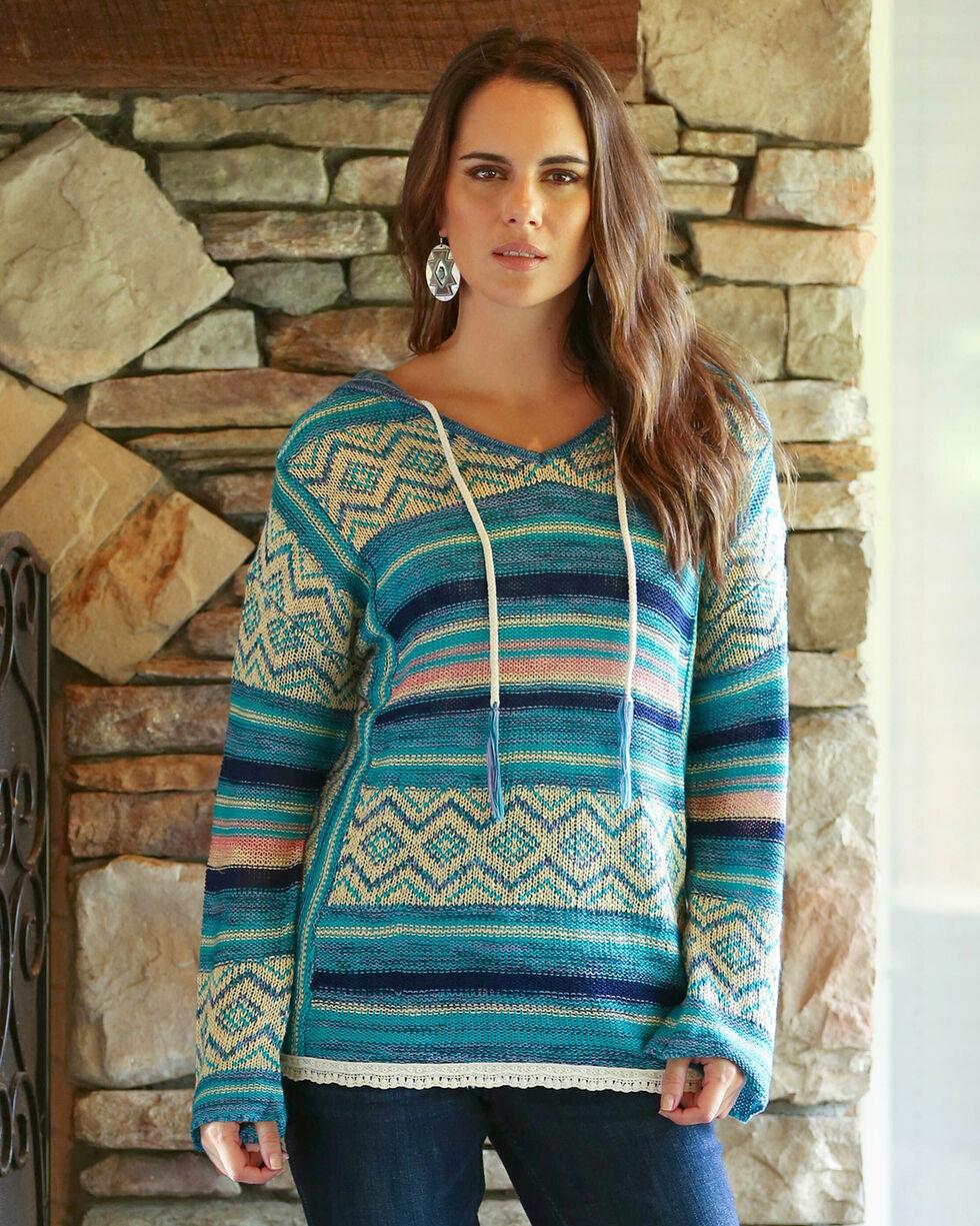 Wrangler Women's Blue Crochet Trim Hooded Sweater , Blue, hi-res