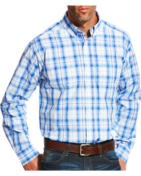 Ariat Men's Pro Series Mustang Plaid Long Sleeve Button Down Shirt, Blue, hi-res