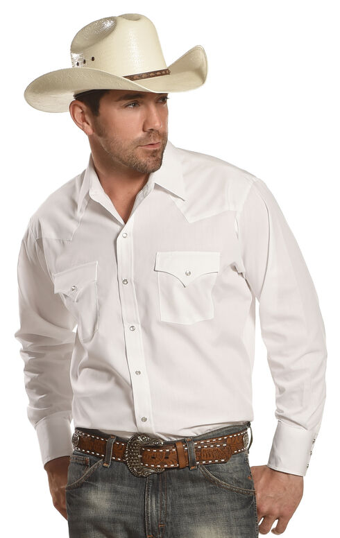 Ely Cattleman Men's Long Sleeve Solid Western Shirt - Big & Tall, White, hi-res