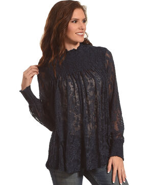 New Direction Sport Women's Black Ruched Lace Top , , hi-res