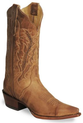 Nocona Old West Tan Cowboy Boots - Snip Toe, Tan, hi-res