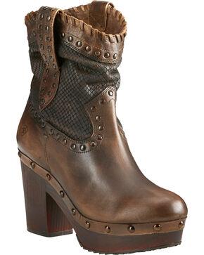 Ariat Women's Memphis Distressed Short Boots - Round Toe , Tan, hi-res
