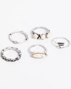 Shyanne Women's Rhinestone & Arrow Ring Set , Silver, hi-res