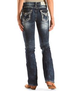 Grace in LA Women's Medium Blue Floral Pocket Jeans - Boot Cut , Medium Blue, hi-res