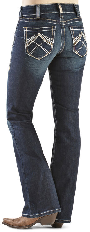 Ariat Women's R.E.A.L. Whipstitch Boot Cut Jeans, Denim, hi-res