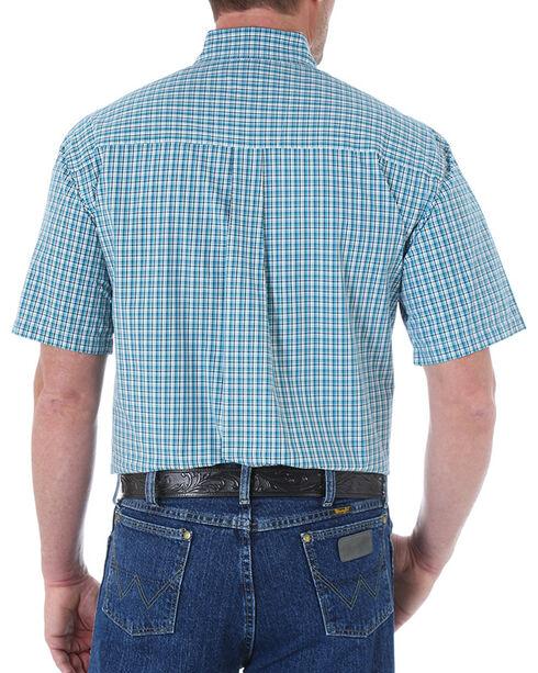 Wrangler George Strait Men's Mini Checks Short Sleeve Shirt, Turquoise, hi-res