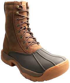 "Twisted X Men's 8"" Lace-Up Brown Rubber Boots - Round Toe, , hi-res"