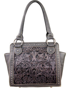 Trinity Ranch Women's Black Tooled Front Tote , Black, hi-res