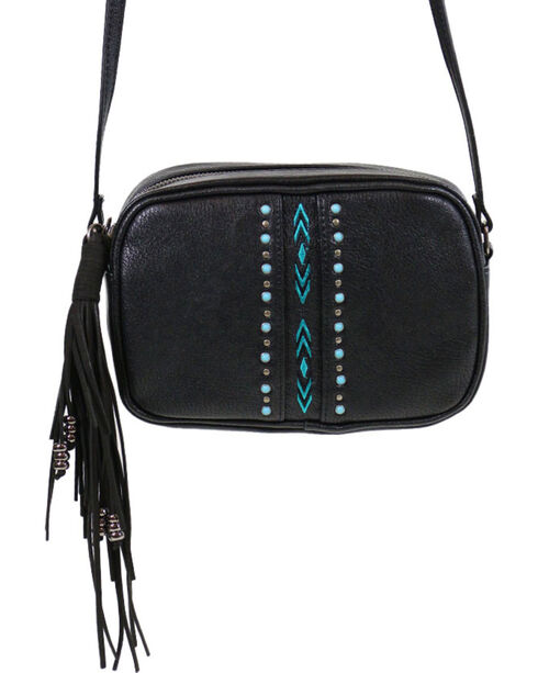Shyanne Women's Embroidered Crossbody Bag, Black, hi-res