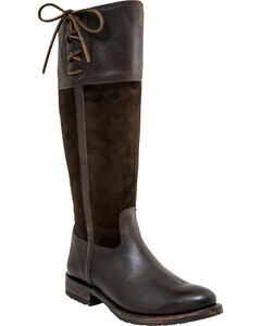 Lucchese Women's Emma Equestrian Boots - Round Toe , Chocolate, hi-res