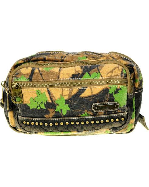 Montana West Camo Stone Washed Canvas Waist Bag, Green, hi-res